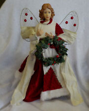 "Angel Tree Topper Red Multi 16"" X 11"" Wire Wings Resin Face & Hands Fabric Cloth"