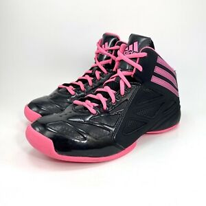 Adidas Womens Black Pink Athletic Basketball Sneakers Shoes C76754 Sz 7