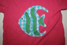 Used Mini Boden Girls 3 4 year Pink Top Short Sleeves Big Applique Angle Fish