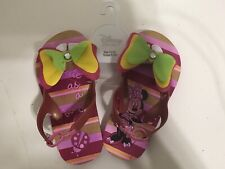 Disney Store Minnie Mouse Spring Pink Flip Flops Sandals Shoes Girl Size 9/10