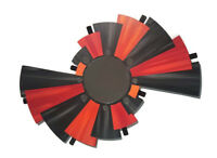 Unique Abstract Geometric Red Orange Gray Mirror wall art with Metal, Mirror art