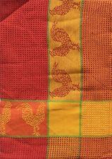 Chicken Kitchen Towel | Cotton Waffle Weave | Orange Gold | Rooster Pictorial