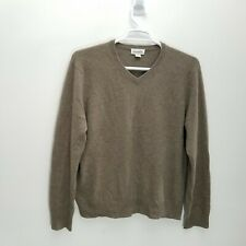 Williams Mens Sweater Sz L 100% Cashmere Knit Brown V Neck Ribbed Trim Pullover