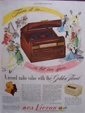1948 RCA Victor Record Radio Golden Throat Advertisement