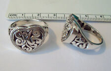 1 size 5 Sterling Silver Very Pretty 5g heavy Decorative 17x18mm Heart top Ring