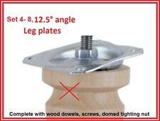 4-8 Angled leg brace/Plate W/dowels/screws.12.5°. 4 hole fix. M8 thread Sofa