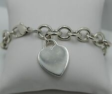 "Original ""Tiffany & Co."" Heart style sterling silver 925 charm bracelet 7 1/2"""