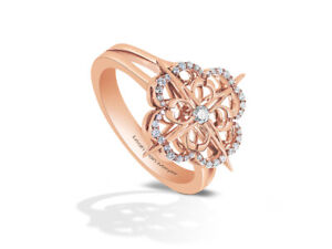 Iconic Signature Diamond Encrusted Ring in 18k Rose Gold by Leah Van Meyer