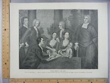 Rare Antique Original VTG Bishop Berkeley And Family Photogravure Art Print