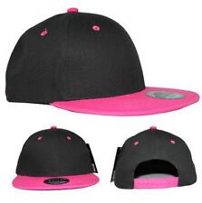 100% Cotton Flat Peak Two Tone Snapback Baseball Cap Black/Pink