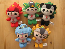 2008 Beijing Olympics Lot Set of 5 Plush Mascot Key Chains VGUC Fuwa Good Luck