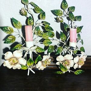 (2) Vintage French Country Floral Wall Candle Holder Italian Tole Scones