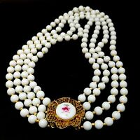 Vintage Costume Jewellery Four Strand White Bead Necklace with Porcelain Clasp