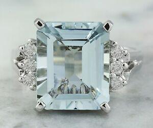 5.69 Carat Natural Aquamarine 14K White Gold Diamond Ring