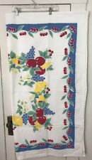 "EUC Crate & Barrel Retro Print Tablecloth Fruit Cherries Pears Apple, 50"" Square"