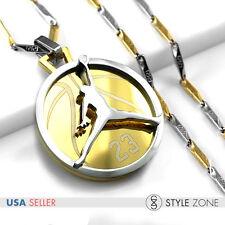 Stainless Steel Jordan # 23 JUMPMAN Logo Pendant Stick Necklace Silver Gold F13