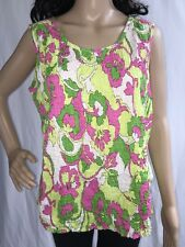 Cappagallo Shirt Plus Size 1X Bright Floral Sleeveless Smocked Retro Inspired