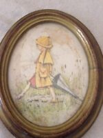 vintage 3d paper wall art italian decor girl rain umbrella domed frame