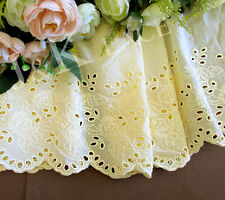 17 cm width Pretty Pale Yellow Cotton Embroidery Lace Trim