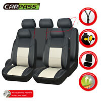 Universal Car Seat Covers PU Leather Waterproof Cream Fit Split Rear Set Airbag