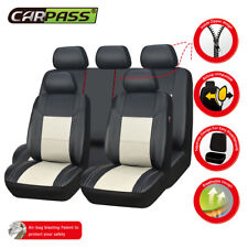 Universal Car Seat Covers Leather Waterproof Cream Fit Split Rear Set Airbag