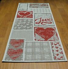 Love,Heart and Check Pattern Flatweave Kitchen/Hallway Runner,Grey-RUG192/200