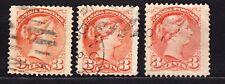 1870 Canada Trio - #37, #37a #37c  Good Used 3 Cents Queen Victoria