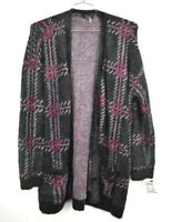 1 STATE Womens Plaid Sweater Pockets Black Fuzzy Cardigan Soft Stretch NWT M