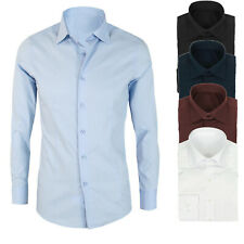 Camicia da Uomo slim fit  casual cotone bianca blu nera celeste s m l xl xxl
