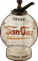 FAN TAZ SODA POP BASEBALL SYRUP JAR HEAVY DUTY USA MADE METAL ADVERTISING SIGN