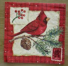 """Lot 3 serviettes en papier """"Cardinal de Noël"""" (Paper Napkins), scrap, DIY"""