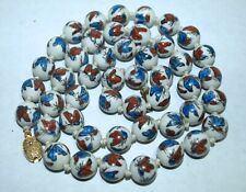 """Chinese porcelain bead hand painted butterfly necklace 30"""" silver filigree clasp"""