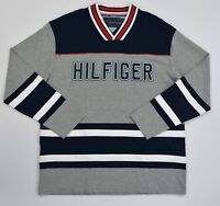 NWT Men's Tommy Hilfiger V Neck Hockey Jersey Pullover Sweater Sweatshirt