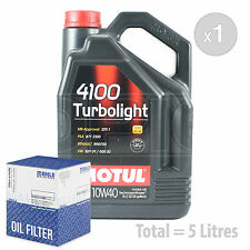 Engine Oil and Filter Service Kit 5 LITRES Motul 4100 Turbolight 10W-40 5L