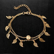 Gold Leaf Ankle Bracelet Women Anklet Adjustable Chain Foot Beach Jewelry