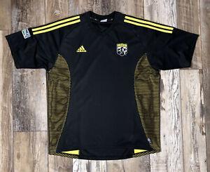 Vintage Columbus Crew Soccer Jersey adidas ClimaLite Black Yellow - Size L