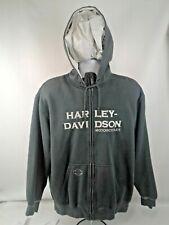 Harley Davidson Motorcycles Mens Grayest/Green Full Zip Sweat/Jacket/Hoodie Sz L