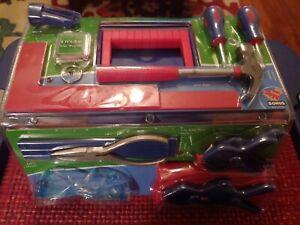 Kid's Plastic Toolbox with Tools & Gloves