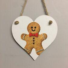 Gingerbread Man Handmade wooden hanging  Christmas Heart Handmade Decoupaged