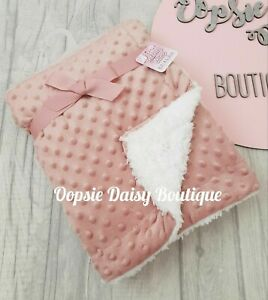 Deluxe Supersoft Baby Blanket Sherpa Back Dusky Pink