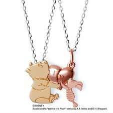 NEW THE KISS Winnie the Pooh & Piglet necklace Pink Heart Silver DI-SN 6002-6003
