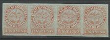 timbres-Colombie. 1879. 1 Peso Rouge sur Bleu–Michelsen Réimpression Bande de 4.