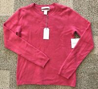 Ellen Tracy Womens 100% Cashmere Crew Neck Sweater Pink Size Small S