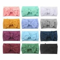 12 PACK Super Soft Nylon Wide Bowknot Baby Headbands Bows Knot Turban Headwraps
