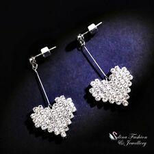 18K White Gold Plated Simulated Diamond Sparkling Stick Heart Drop Earrings