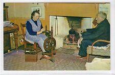 SPINNING FINE SHETLAND WOOL, CROFTER'S COTTAGE, UNST: Shetland postcard (C16394)