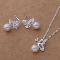 Butterfly Pearl Pendant Necklace and Earrings Set 925 Sterling Silver NEW