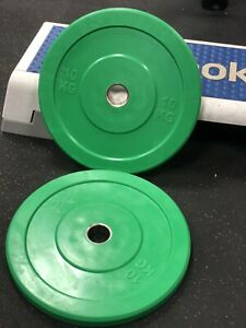 "Pair of 10k  Coloured (green)bumper plates,New and boxed weightlifting, 2"" Holes"
