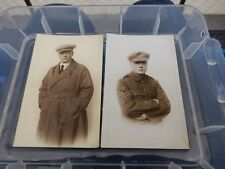 WW1 CIVVIES AND  UNIFORM   PAIR OF POSTCARDS  long and purposeful stare !