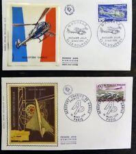 2 enveloppe timbre premier jour Hélicoptère Gazelle & aéroport Charles de Gaulle